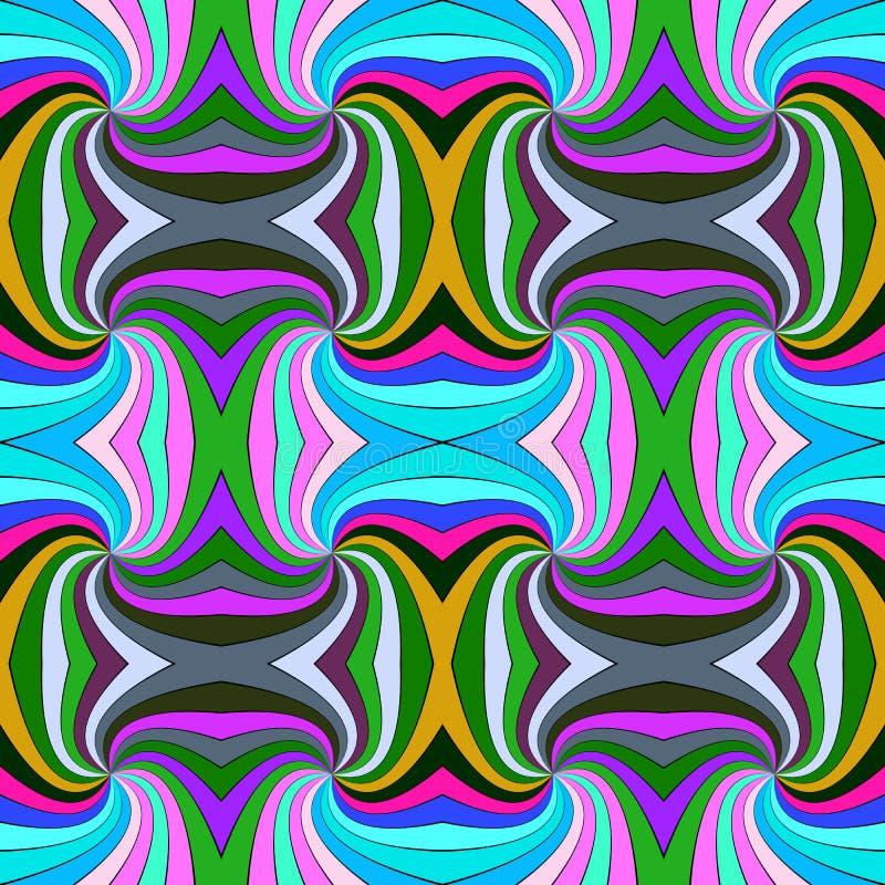 五颜六色的从打旋的光芒的摘要安眠药无缝的镶边漩涡样式背景设计 皇族释放例证