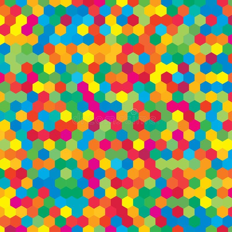 五颜六色的任意六角形马赛克或瓦片背景 向量例证