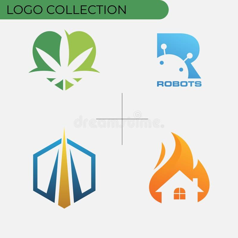 五颜六色的企业商标收藏 库存例证