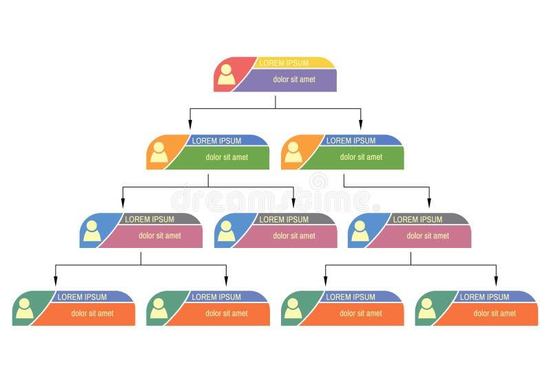 五颜六色的企业结构概念,公司组织系统图计划 库存例证