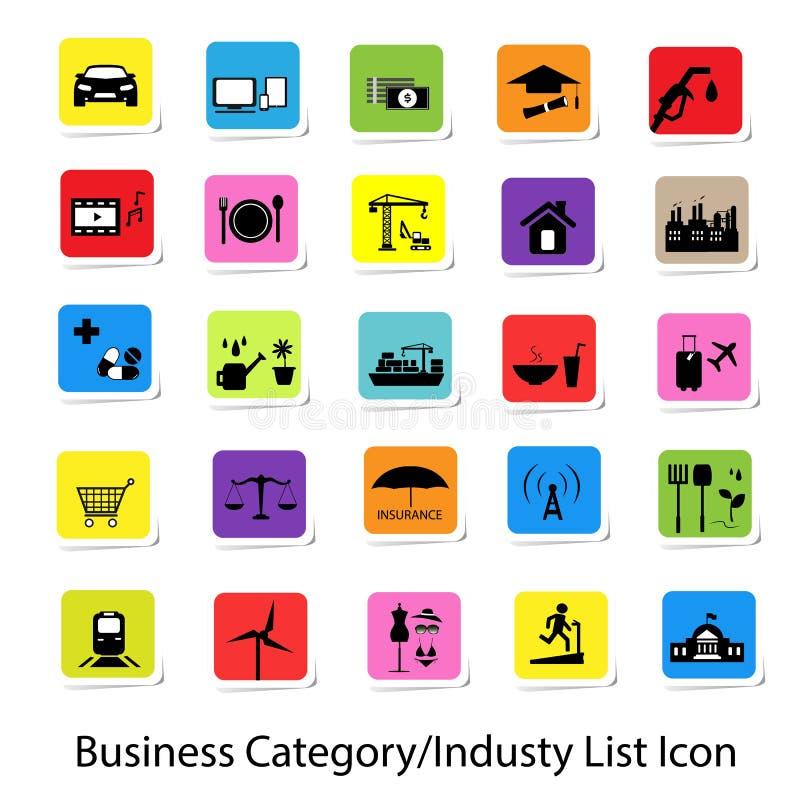 五颜六色的企业类别和产业名单象 皇族释放例证