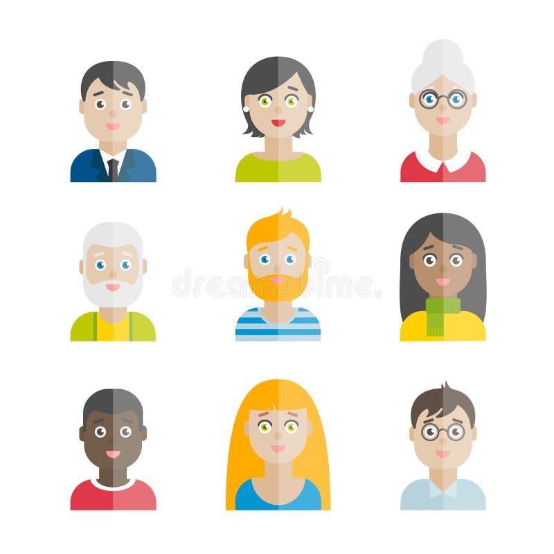 五颜六色的传染媒介平的人具体化的汇集 向量例证