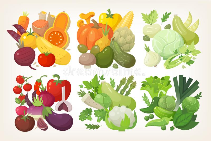 五颜六色的传染媒介菜 向量例证