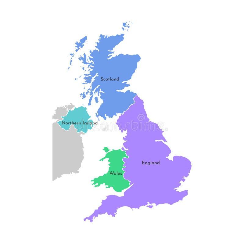 五颜六色的传染媒介被隔绝的被简化的地图 英国省的灰色剪影 苏格兰,威尔士,英国,爱尔兰的边界 向量例证