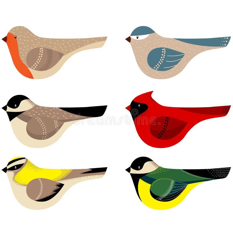 五颜六色的传染媒介装饰的鸟收藏 库存例证
