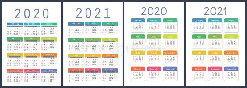 ??2020??2021? 五颜六色的传染媒介集合 r 垂直的英国日历设计模板 皇族释放例证