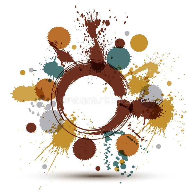 五颜六色的传染媒介墨水飞溅无缝的样式以交叠盘旋 皇族释放例证