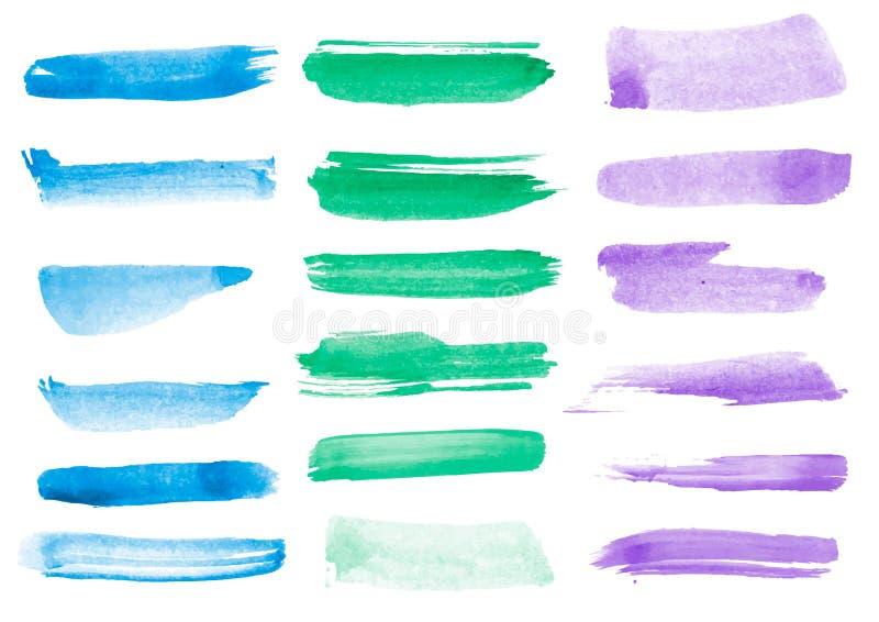 五颜六色的传染媒介水彩刷子冲程 向量例证