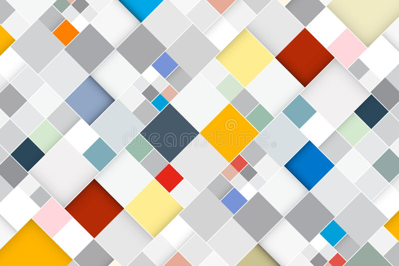 五颜六色的传染媒介摘要正方形减速火箭的背景 库存例证