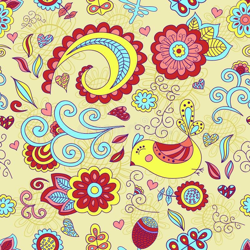 五颜六色的传染媒介无缝的花卉样式和一只逗人喜爱的鸟 向量例证