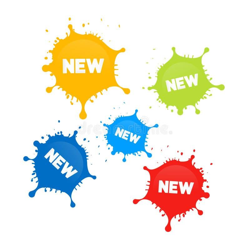五颜六色的传染媒介污点,飞溅与新标题 库存例证