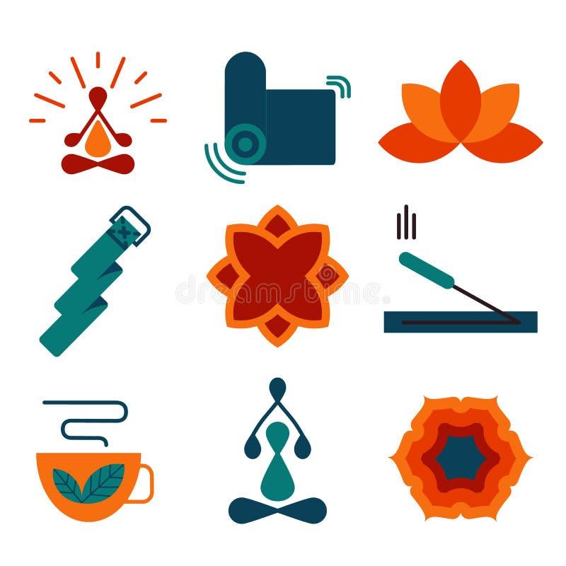 五颜六色的传染媒介瑜伽象和徽章 向量例证