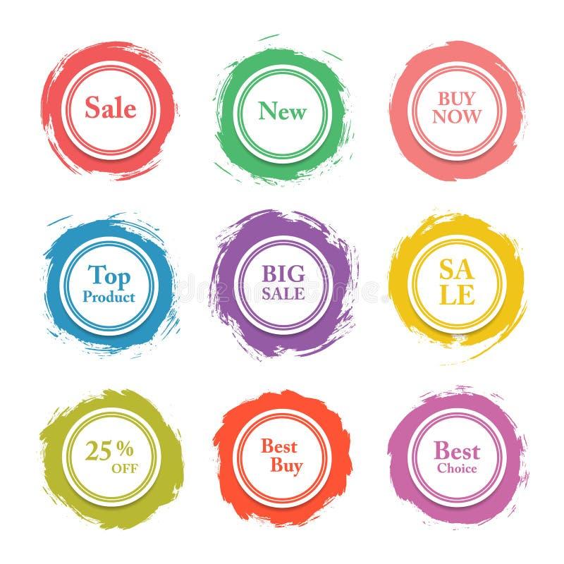 五颜六色的传染媒介纸圈子,贴纸,标签,与刷子冲程的横幅 向量例证