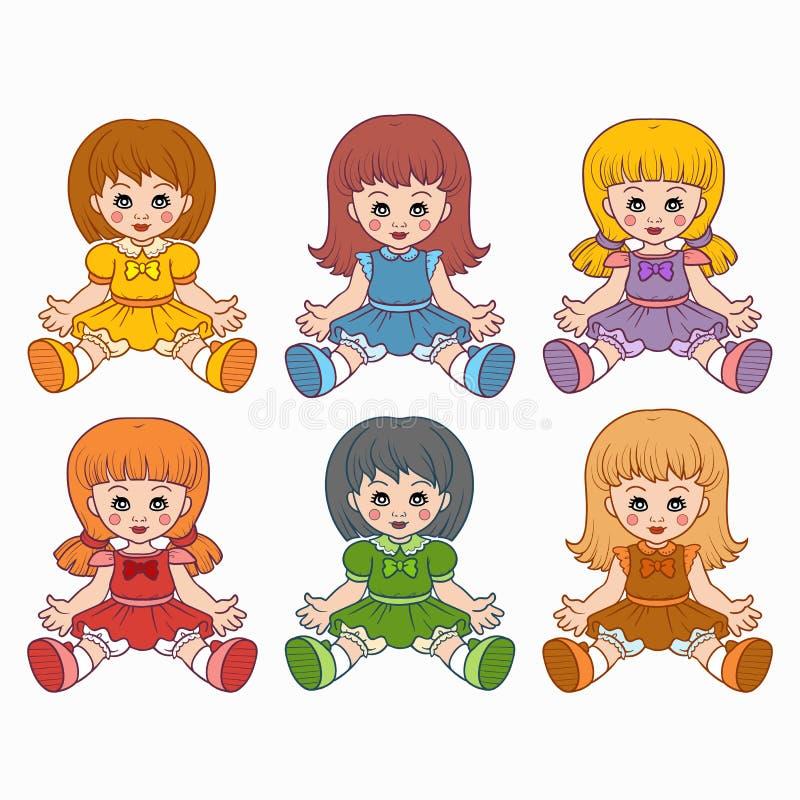 五颜六色的传染媒介设置与玩偶 皇族释放例证