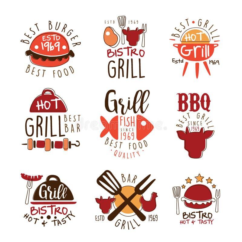 五颜六色的传染媒介设计模板最佳的格栅酒吧电视节目预告标志系列与食物剪影的 库存例证