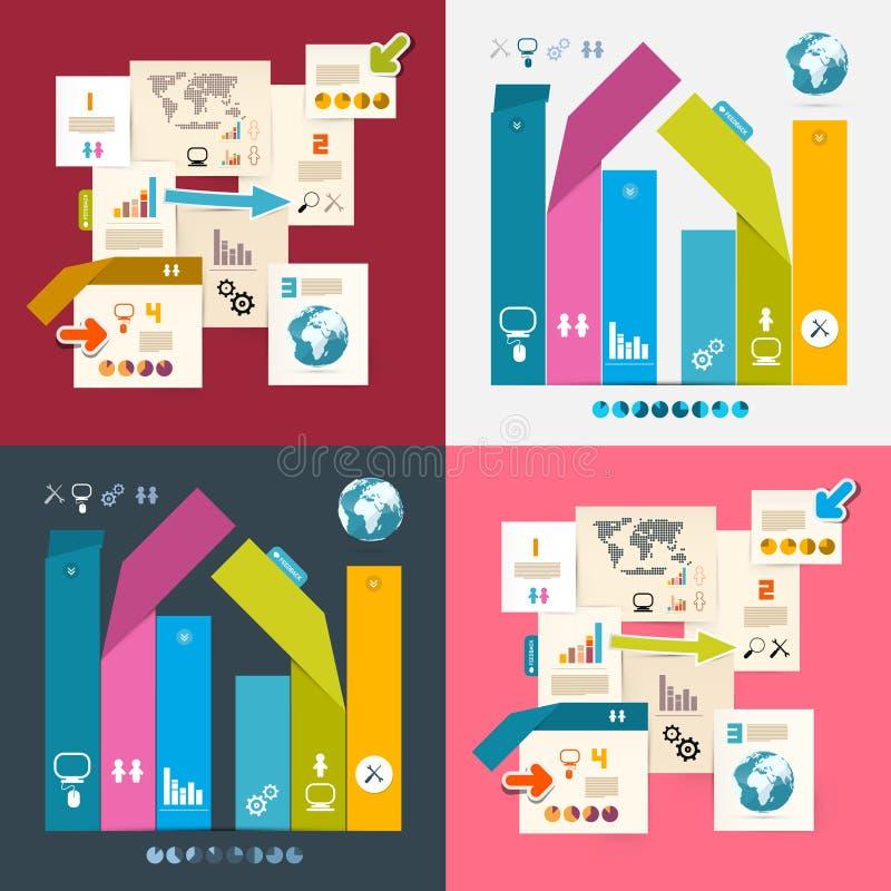 五颜六色的传染媒介Infographics纸布局集合 皇族释放例证