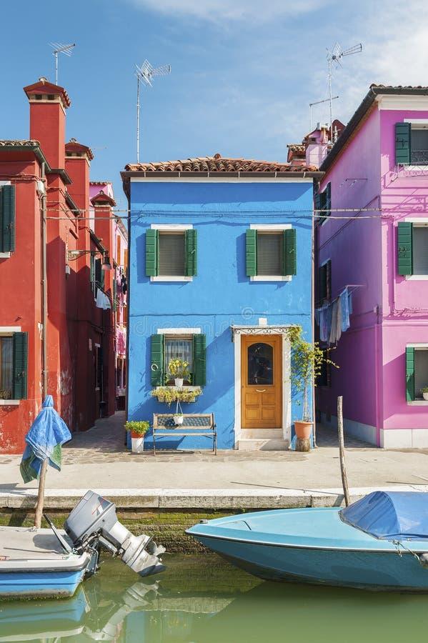 五颜六色的住宅房子在威尼斯,意大利 库存图片