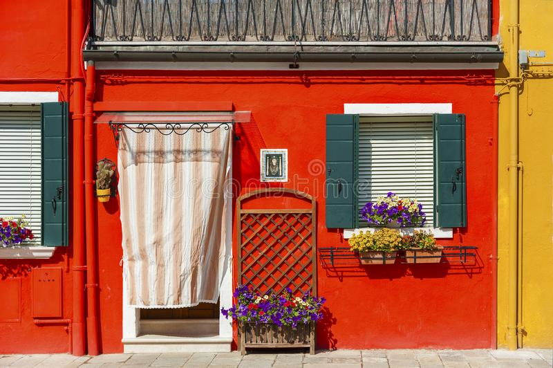 五颜六色的住宅房子在威尼斯,意大利 免版税库存图片