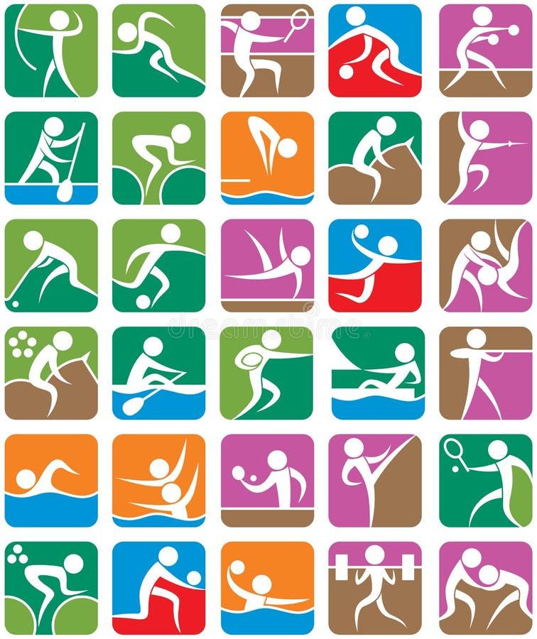 五颜六色的体育运动夏天符号 皇族释放例证