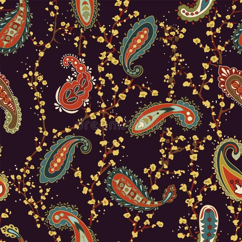 五颜六色的佩兹利墙纸 纺织品的,盖子,包装纸,网种族背景 佩兹利包装纸 皇族释放例证