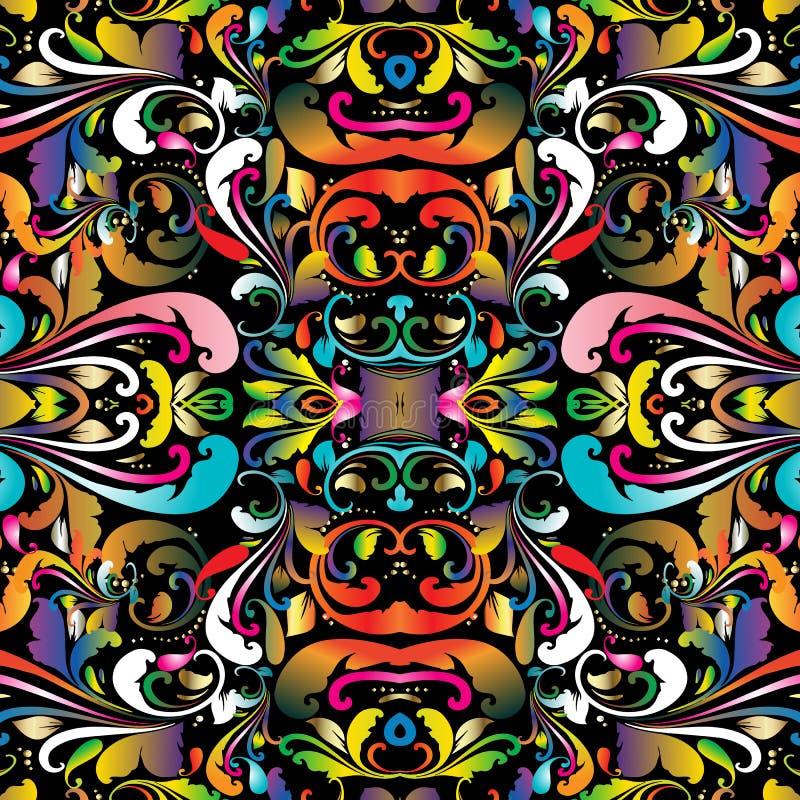 五颜六色的佩兹利无缝的样式 传染媒介花卉明亮的backgrou 库存例证