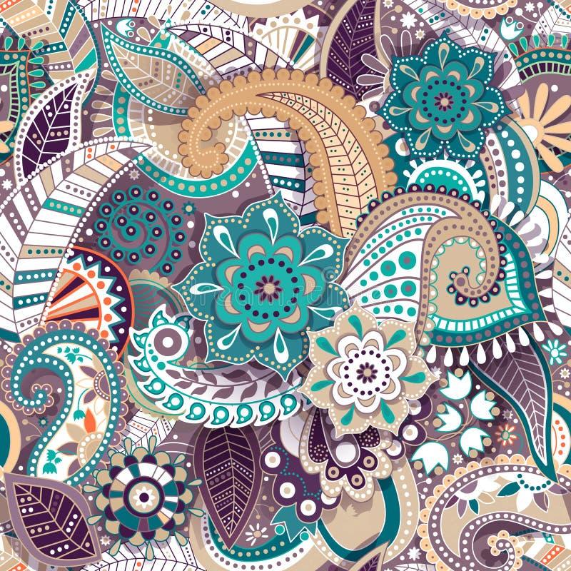五颜六色的佩兹利无缝的样式 原始的装饰背景 印地安墙纸 皇族释放例证