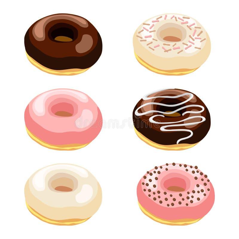 传染媒介例证套与各种各样的顶部的油炸圈饼 皇族释放例证