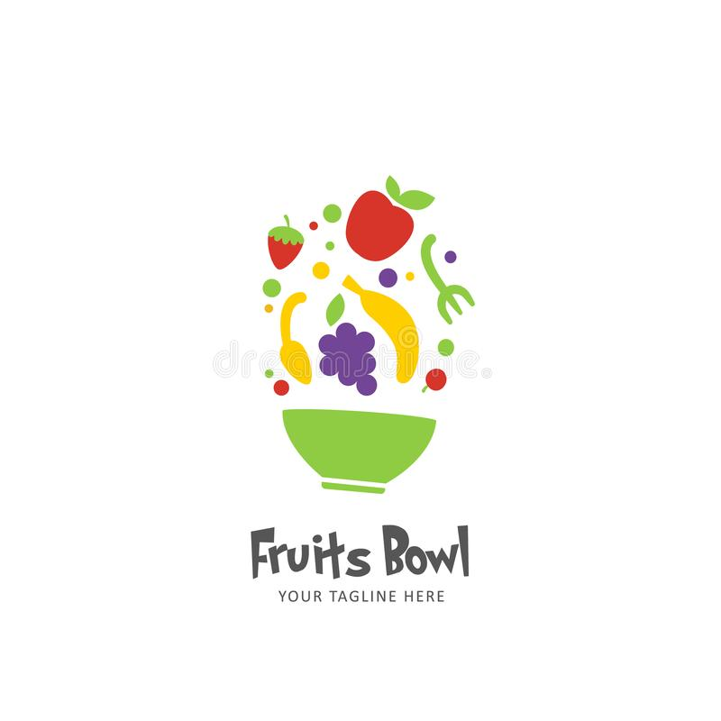 五颜六色的健康食品圆滑的人汁水果钵商标象标志平的样式 皇族释放例证