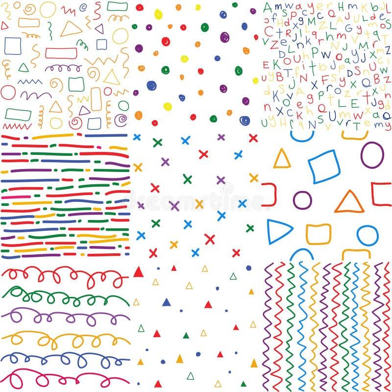 五颜六色的儿童手拉的无缝的样式 库存例证