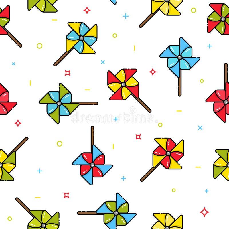 五颜六色的儿童玩具风车的无缝的样式在白色背景的 皇族释放例证