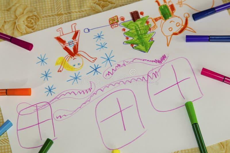 五颜六色的儿童` s图画 库存图片