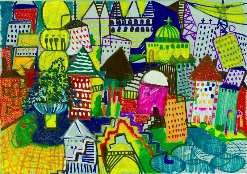 五颜六色的儿童` s被画的城市 免版税库存照片