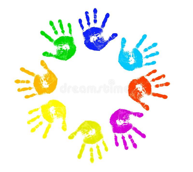 五颜六色的儿童handprints 向量例证