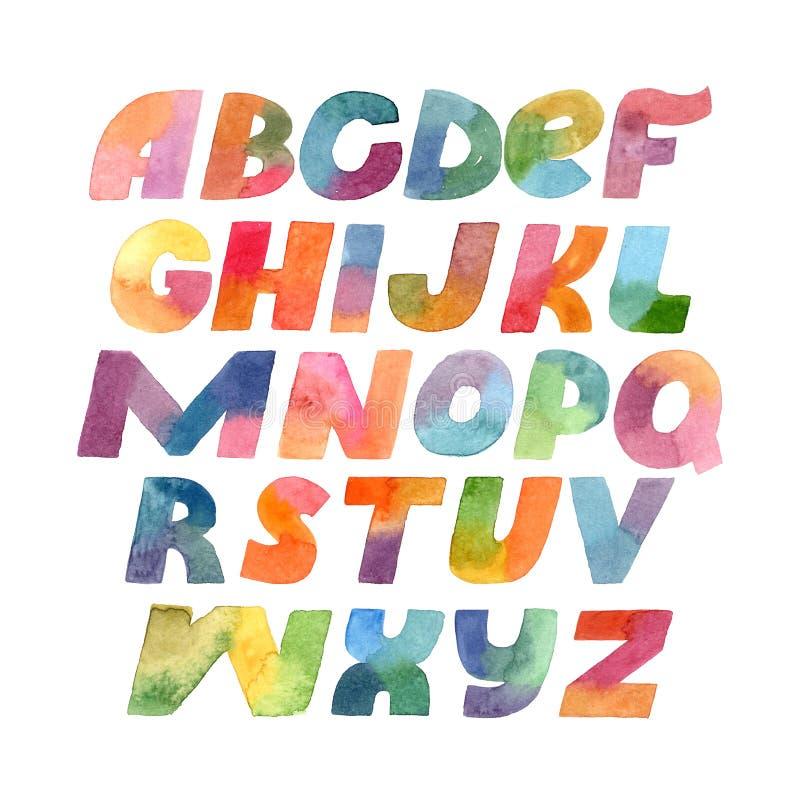 五颜六色的光栅大胆的信件手拉与在白色背景和梯度水彩隔绝的刷子 大字体例证w 库存例证