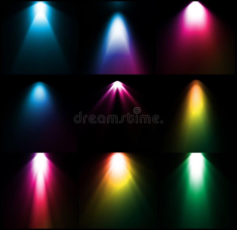 五颜六色的光源。传染媒介集合 皇族释放例证