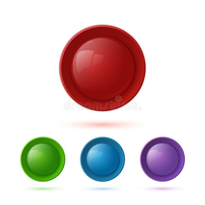 五颜六色的光滑的按钮象集合 向量例证