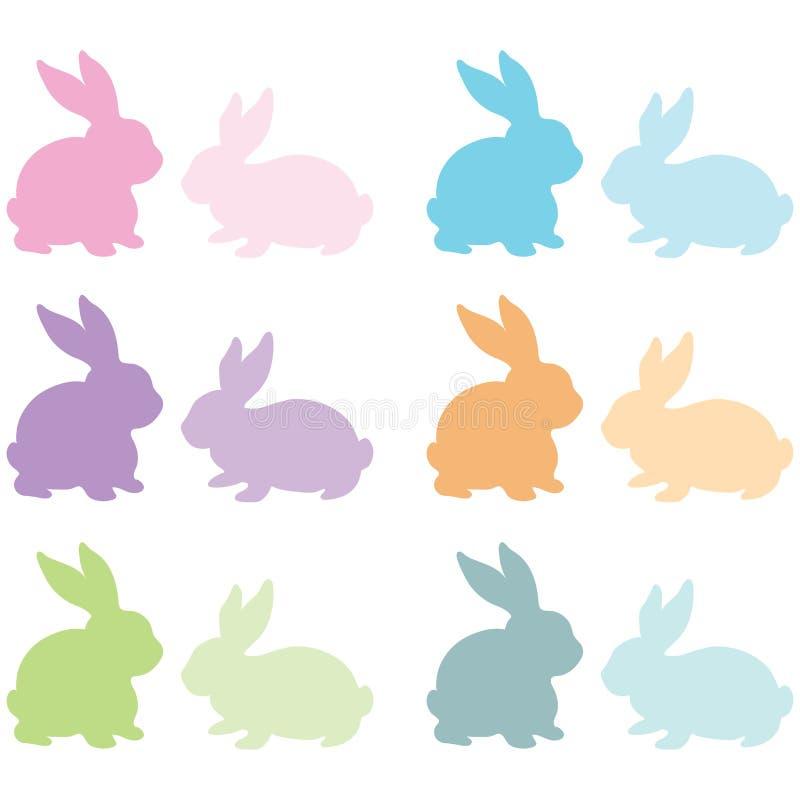 五颜六色的兔宝宝剪影 向量例证