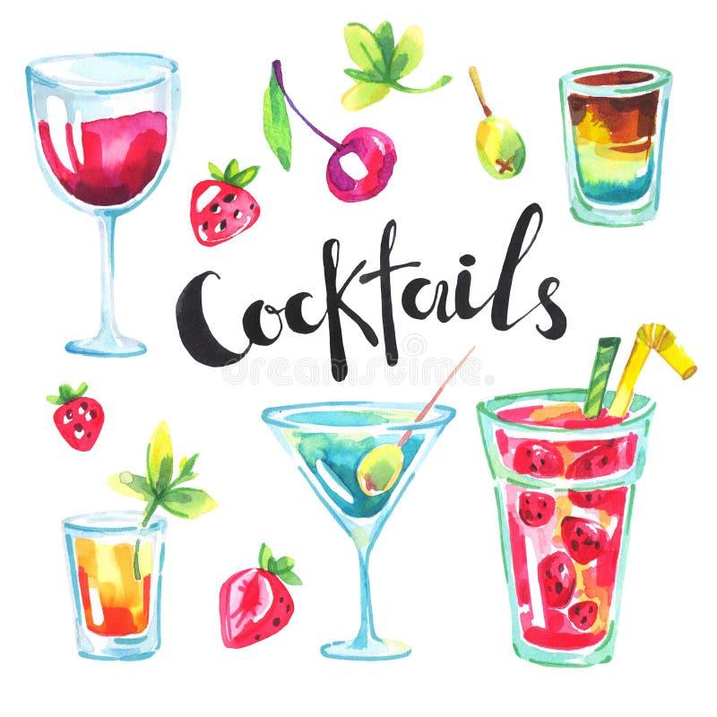 五颜六色的党收藏 水彩热带鸡尾酒和莓果 现代夏天为假日卡片,明信片设置了 向量例证