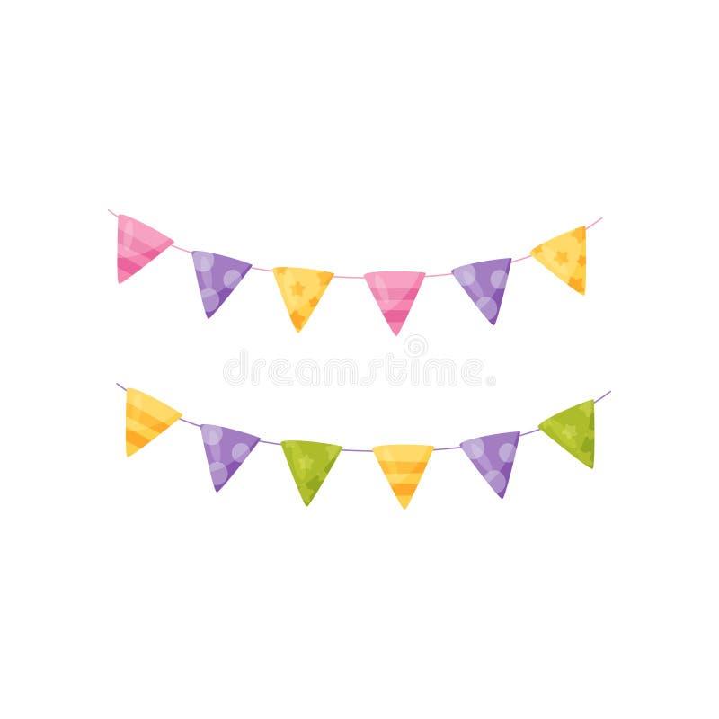 五颜六色的党旗子,生日宴会传染媒介例证的设计元素在白色背景 库存例证