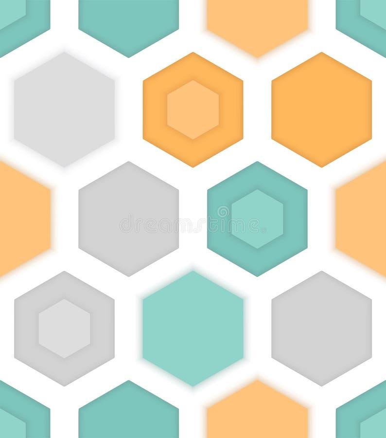 五颜六色的六角形的抽象无缝的样式 皇族释放例证