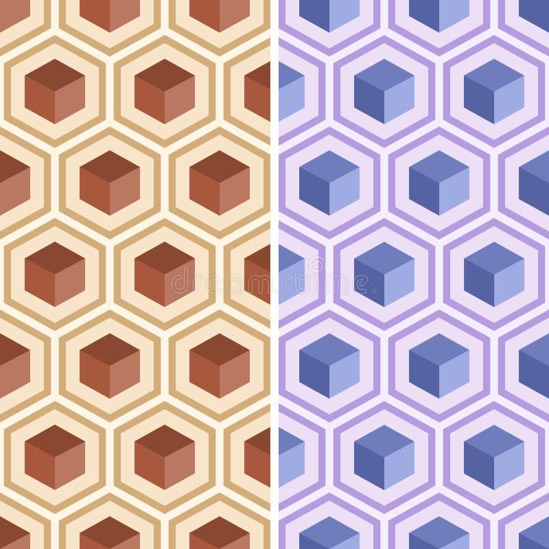 从五颜六色的六角形的无缝的几何抽象样式 皇族释放例证