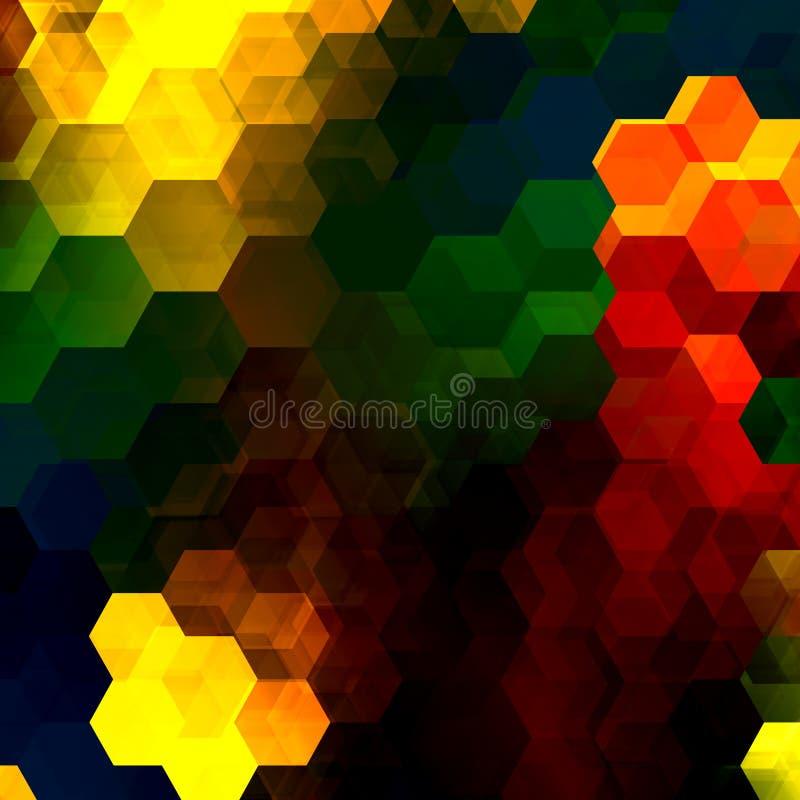 五颜六色的六角形马赛克 抽象重叠的六角形 装饰艺术性的背景 现代数字式艺术 多彩多姿的形状 向量例证