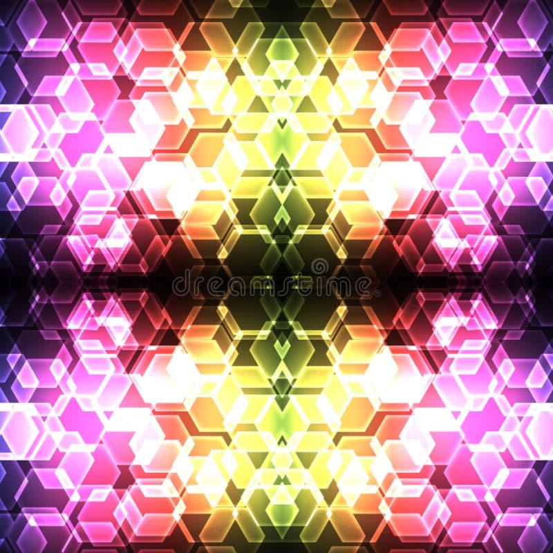 五颜六色的六角形bokeh无缝的背景 库存图片