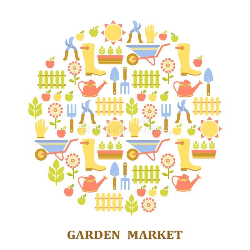 五颜六色的农业、农厂和庭院市场模式 皇族释放例证