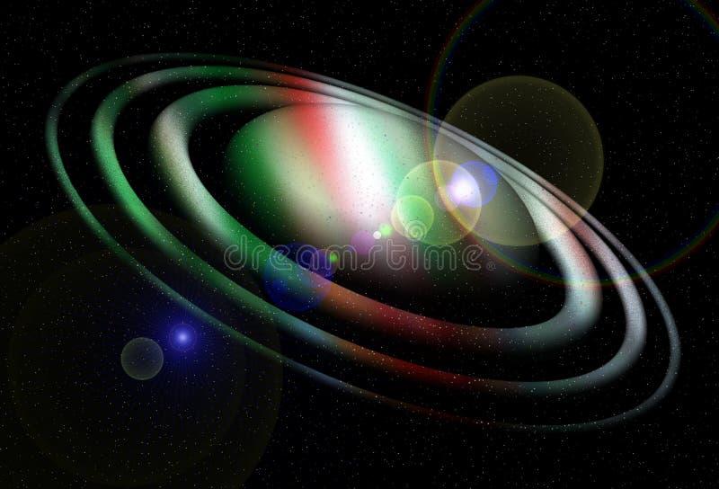 五颜六色的冬天行星,星,夜,光,月亮,抽象背景 库存例证