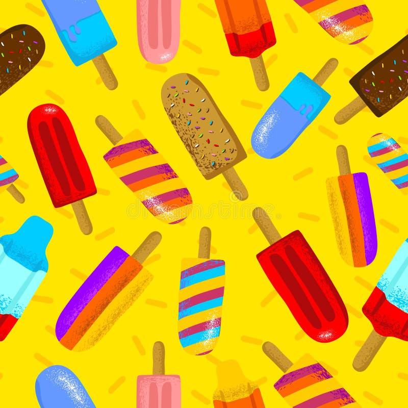 五颜六色的冰淇淋夏时的无缝的传染媒介例证 可以使用和适用于礼品券,横幅,贴纸, 库存例证
