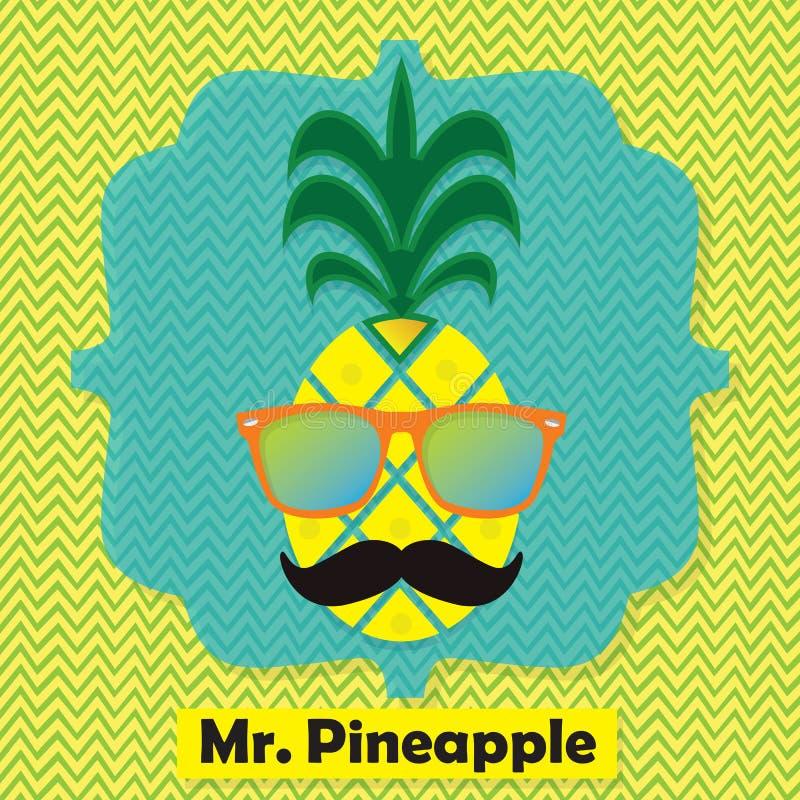五颜六色的凉快的先生 菠萝果子在V形臂章样式的象征象 向量例证