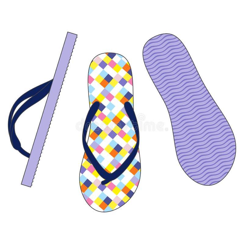 五颜六色的凉鞋 皇族释放例证