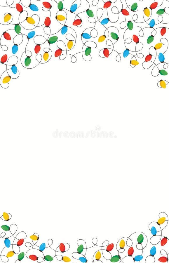 五颜六色的减速火箭的假日圣诞节和新年交错在白色背景上面和底下框架元素的串光 向量例证