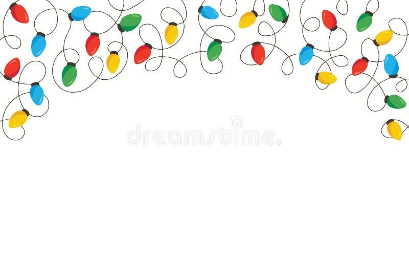 五颜六色的减速火箭的假日圣诞节和新年交错在白色背景上面框架元素的串光 向量例证